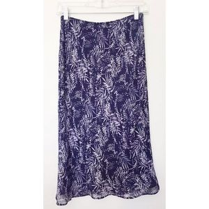 BR Sz 0 Silk Navy Blue / Lilac Color Lined Skirt